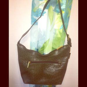 Stone Mountain's Green Faux Ostrich Shoulder Bag